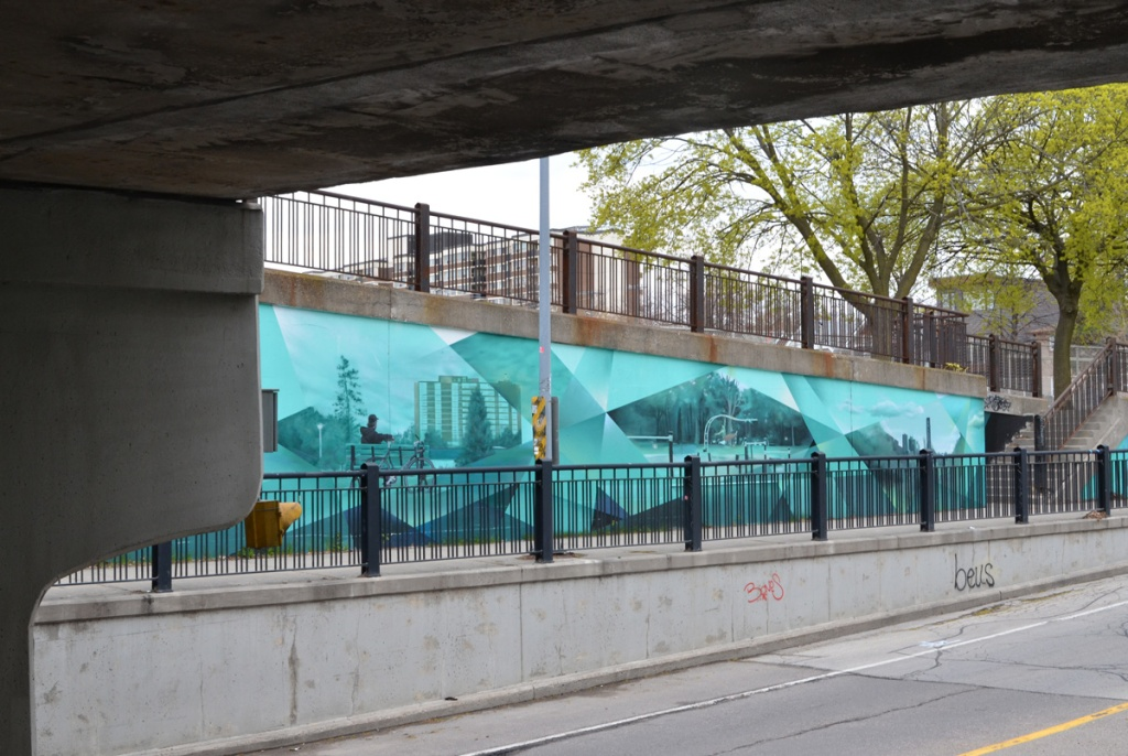 part of one of the murals in Bridges to Art project, on Jones Ave.