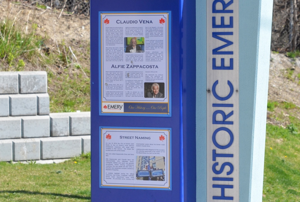 historic emery plaques at bus stop celebrating Claudio Vena and Alfie Zappacosta, two musicians