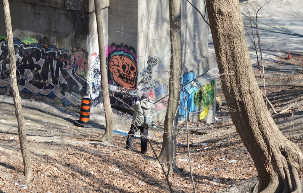 a man taking pictures of the graffiti on a concrete bridge