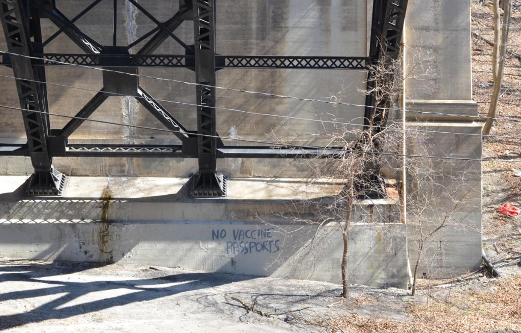 graffiti under bridge, no vaccine passports