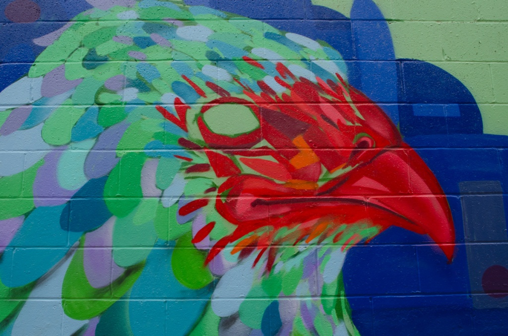 mural of a chicken's head and beak