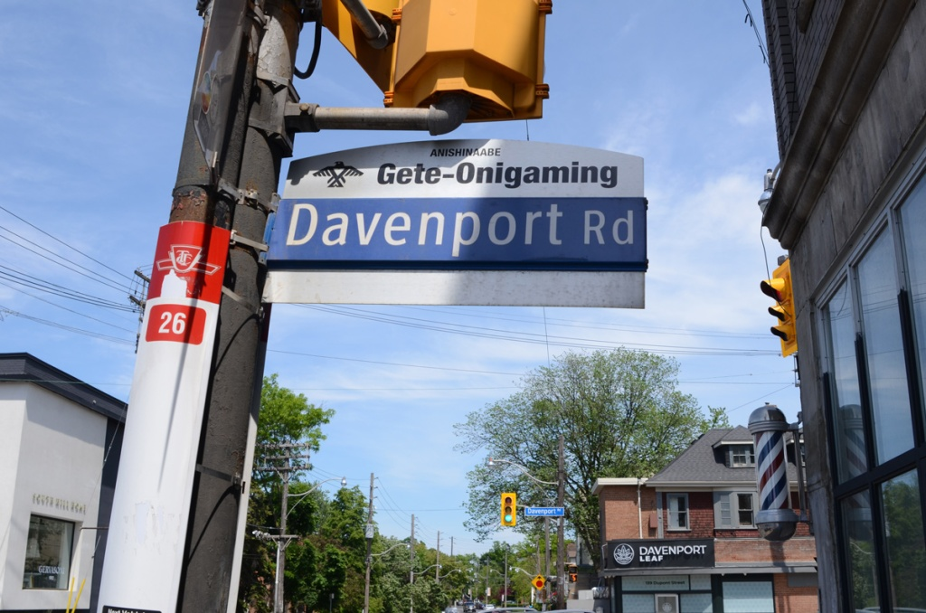 Toronto street sign for Davenport, with it's indigenous name also, Gete-Onigaming