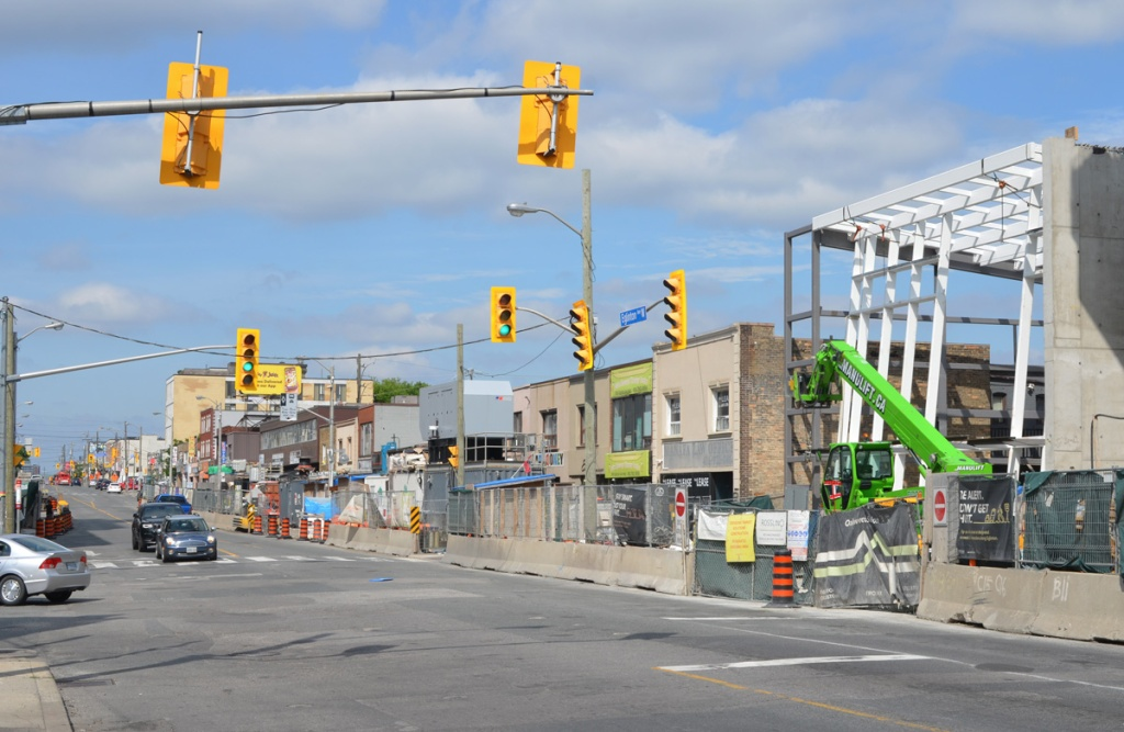 looking west on Eglonton Ave west at Oakwood.  Construction of Oakwood station on the right hand side,