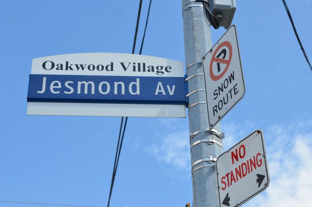 Toronto street signs, Jesmond Ave with Oakwood village top,