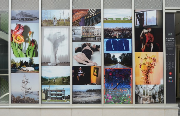 large collage pf photos on wall of Ryerson Image Centre, Maximum Exposure 26, work of graduating students
