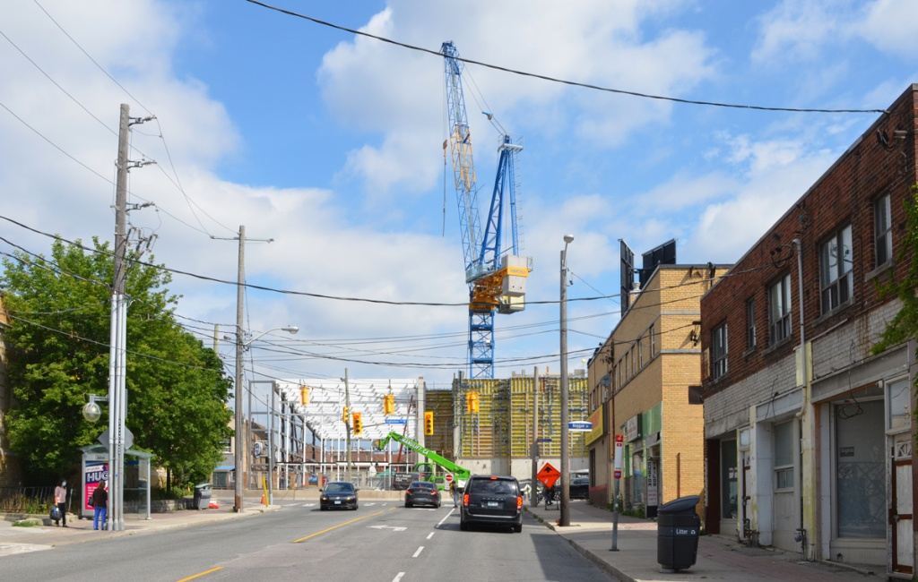looking north on Oakwood to where it ends at Eglinton West, crane, construction of new oakwood subway station