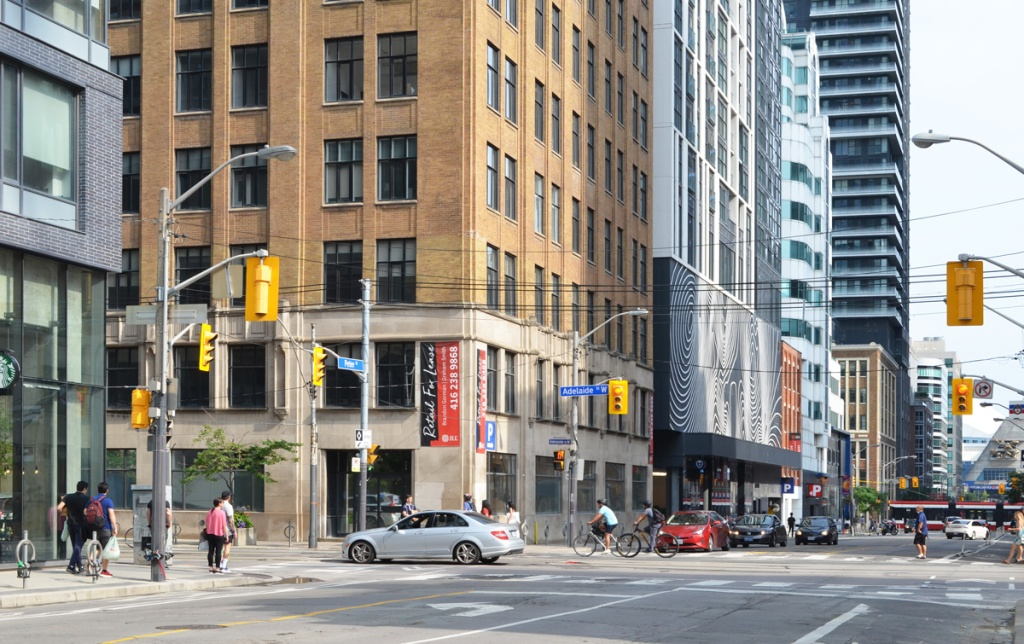 Southeast corner of Adelaide and Peter, all tall buildings