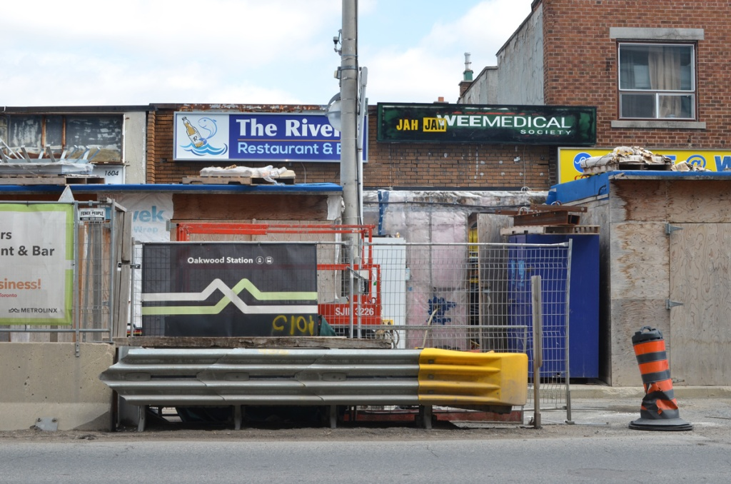 The River Restaurant and other business behind barricades because of Crosstown LRT construction on Eglinton