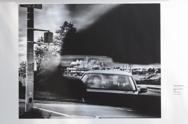 black and white photo of cars, Chris Donovan, on exhibit