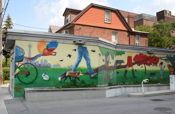 mural on the exterior of west exit from Dufferin station by Ted Hamer, of a country scene, a fox, and some people walking