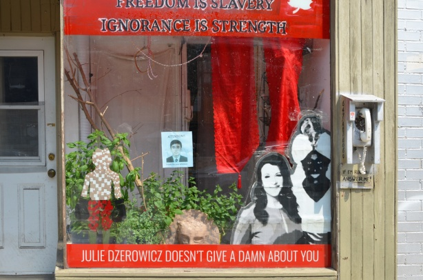 protest in window, Freedom is slavery, ignorance is