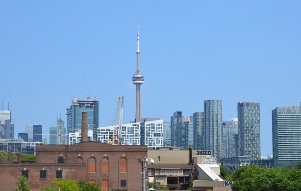CN Tower and downtown Toronto buildings from Garrison Crossing bridge (looking east)