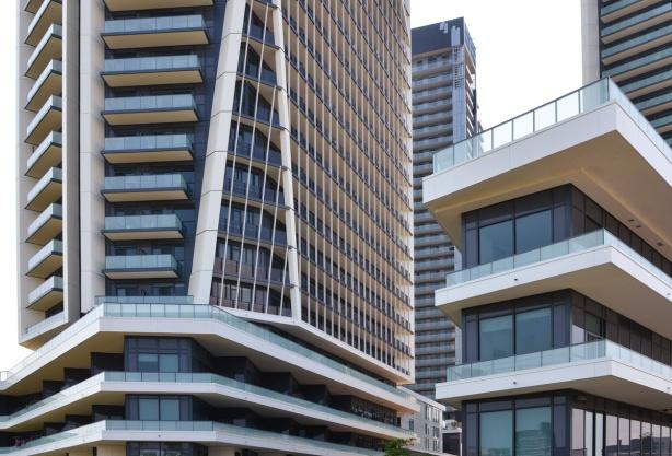 glass and steel condo development at garrison common