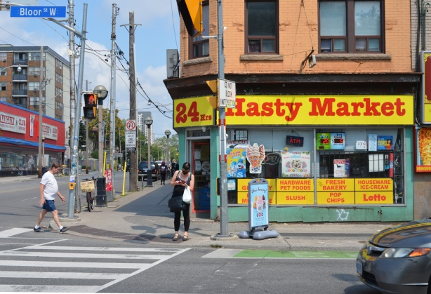 24 hour hasty mart on an intersection of Bloor