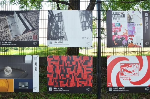 six panels in graduating students art exhibit, OCADU, graphic design and illustration, art by Liam Marks, Daniel Mendez, Daniel Melnyk, Haojun Gong, Jingyi Dong, and Mika Parial