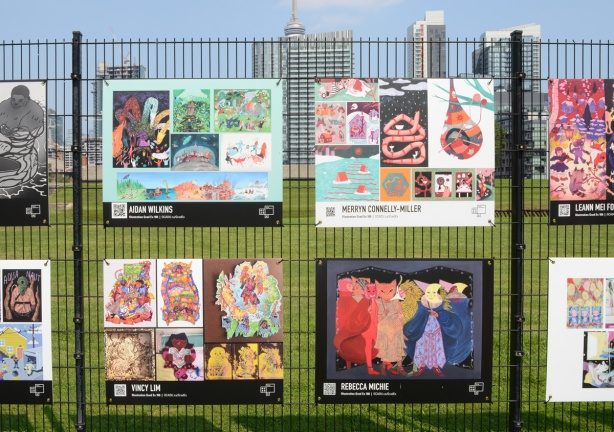 OCADU Gradex work by students graduating in Illustration, work of 4 students on display, Aidan Wilkins, Merryn Connelly-Miller, Vincy Lim, and Rebecca Michie