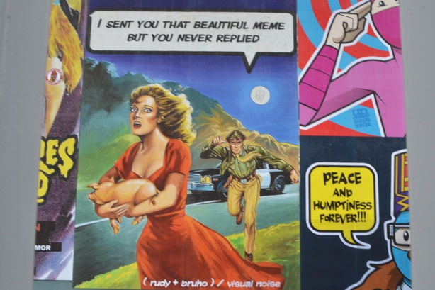 old colour poster of a woman holding a little pig running away from a policeman who has left his car behind, text added that says I sent you that beautiful meme but you never replied (man is talking)