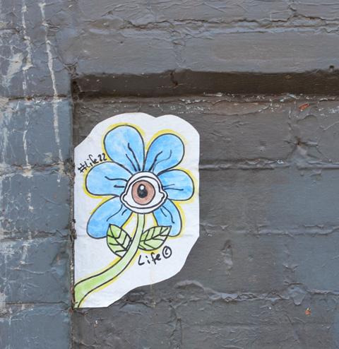 graffiti sticker on a black brick wall, a little blue daisy