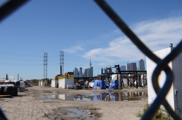 port lands construction with city skyline behind