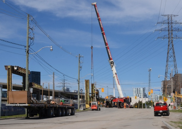 very large crane on Don Roadway, Gardiner demolition