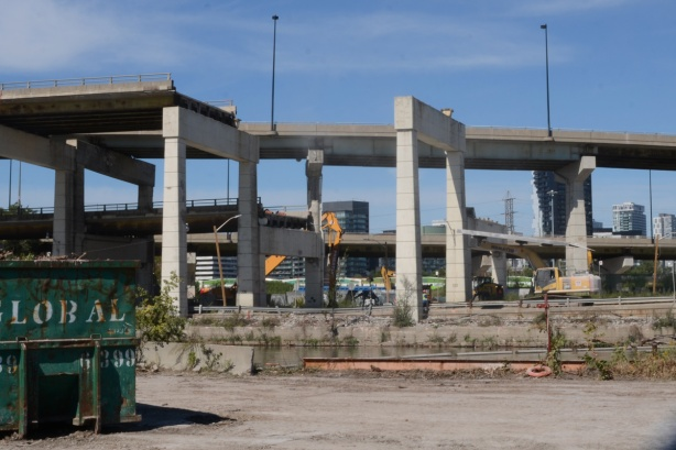 ramp to Don Valley Parkway is still in place but the Gardiner is gone except for a couple of bents