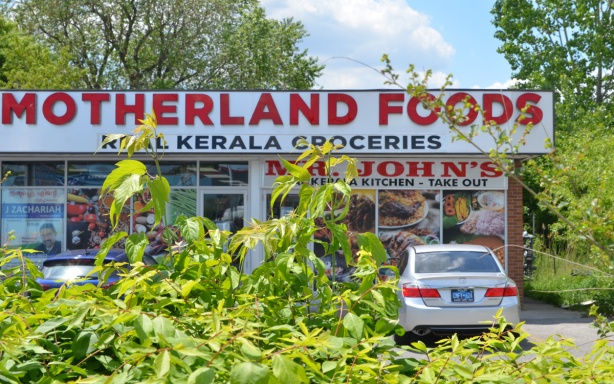 set back from the street a bit, with shrubs and a parking lot in front of it, Motherland Food, kerala groceries