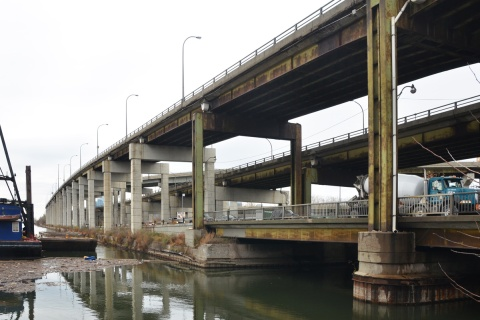 from 2015, photo of Gardiner along the north shore of the Keating channel