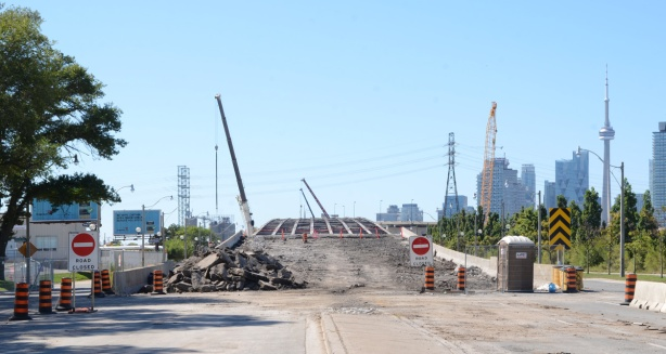 taken from center of Lakeshore - Lakeshore looking west from Bouchette, middle of Gardiner demolition, road surface is missing but steel structure is still there