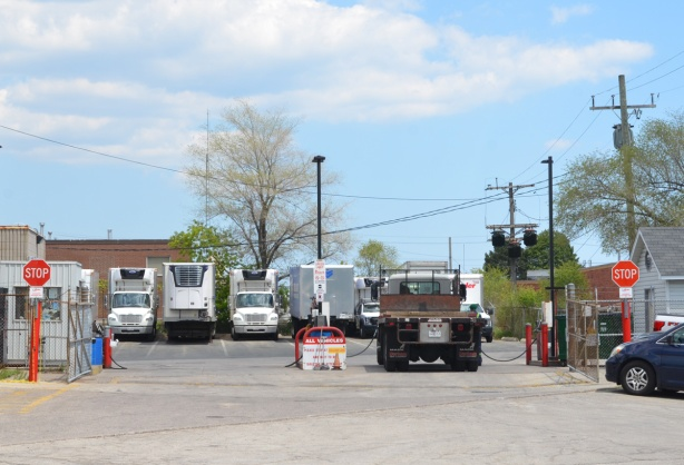a row of trucks parked in a parking lot