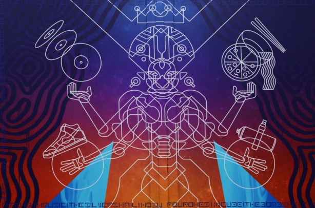image by Andrew Patterson, white line drawing on blue, purple, and orange background, a human-like figure with crown on head and objects in upraised arms