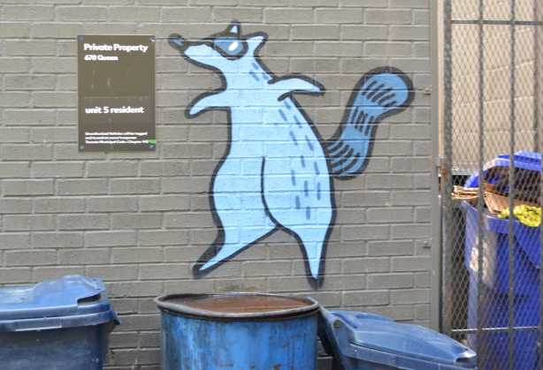 blue raccoon painted on wall above a garbage can