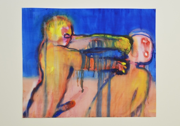 a painting by Miriam Cahn, a naked man is punching a woman in the face,