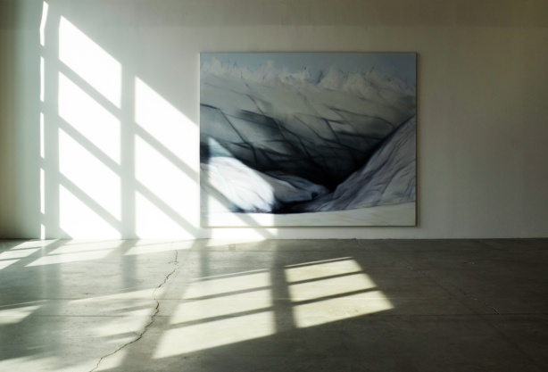 large painting on a wall in a gallery by awindow with sunlight coming in and making patterns with shadows  and light on the floor and on the wall