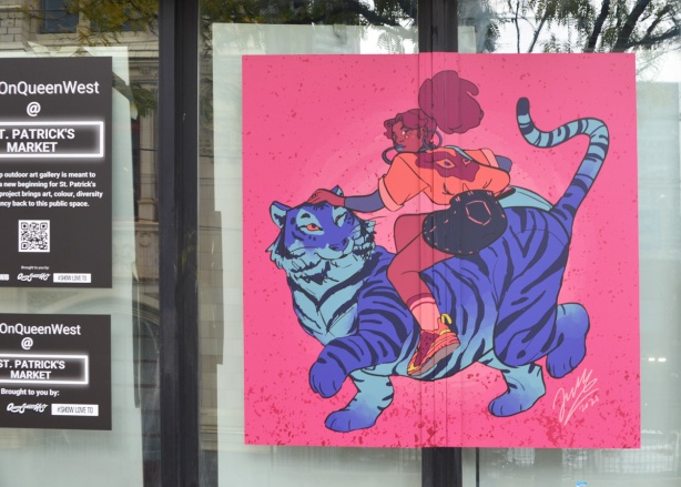illustration by Janelle Lewis, a woman getting onto the back of a blue and purple tiger with black stripes