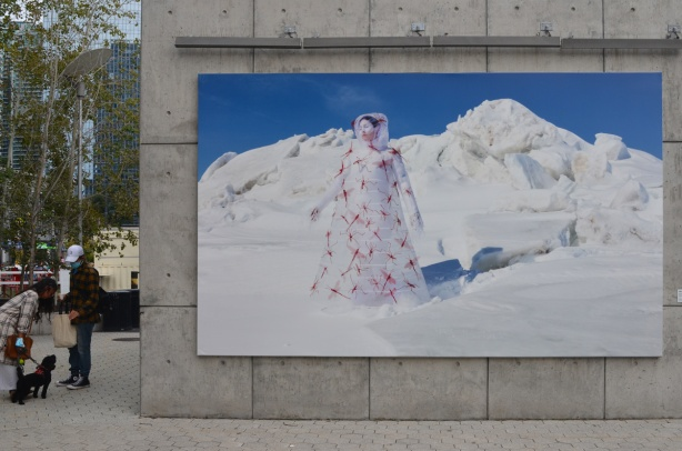 large photograph by Meryl McMaster on display at Canada Square at Harbourfont - woman standing in the snow