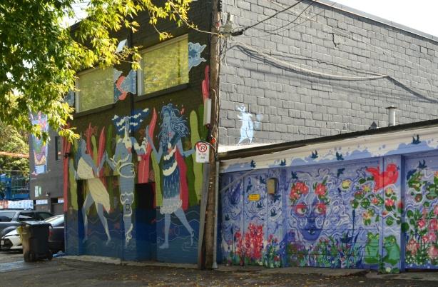 murals in an alley